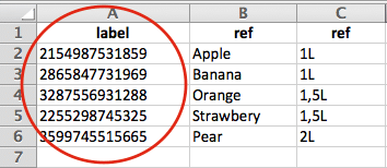 Creation of an referential list assoociated with bar code field.
