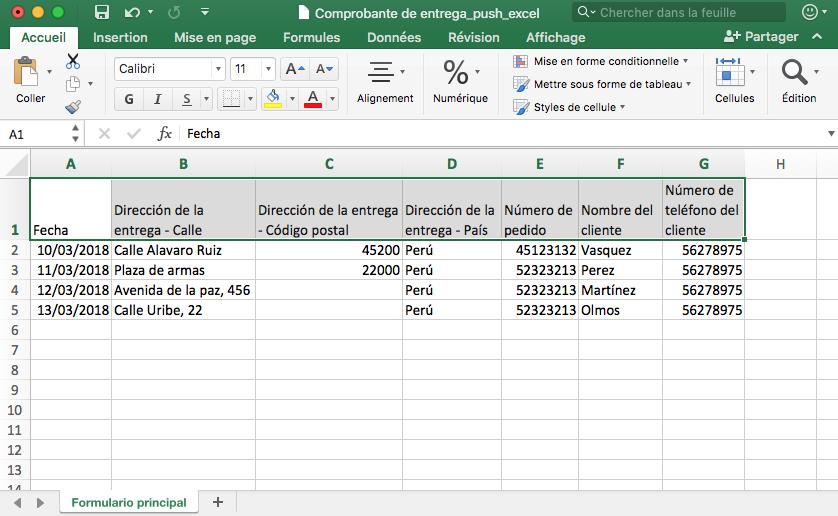 Archivo Excel Push