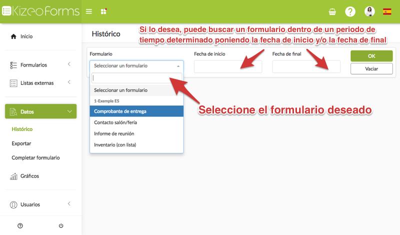 Buscar los datos de un formulario en el histórico