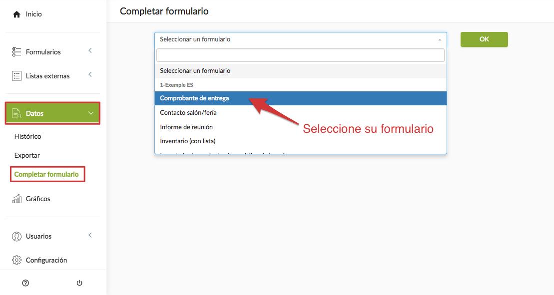 Completar un formulario desde la plataforma