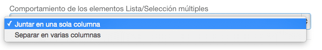 Comportamiento de los elementos listas/ selección múltiple.