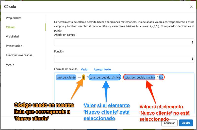 Configuración cálculo con lista