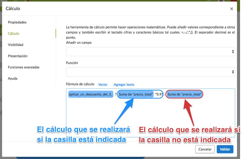 Configuración cálculo