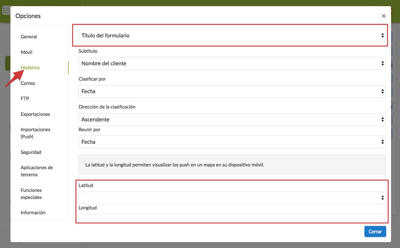 Configuración de un formulario para conocer latitud y longitud