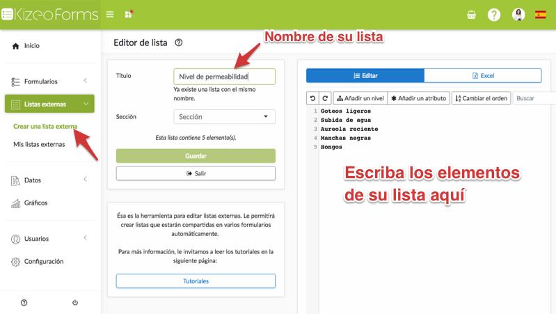 Crear una lista externa con Kizeo Forms