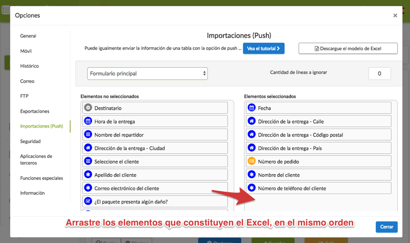 Excel para el push