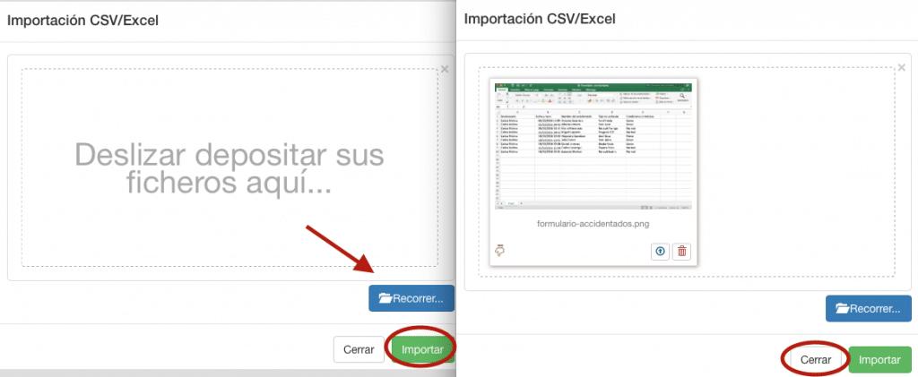 """Haga clic en """"Recorrer"""" inserte su fichar Excel."""