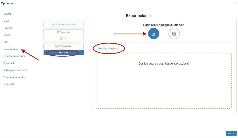 Escoja la opción en la que desea exportar su formulario o añada su documento personalizado.