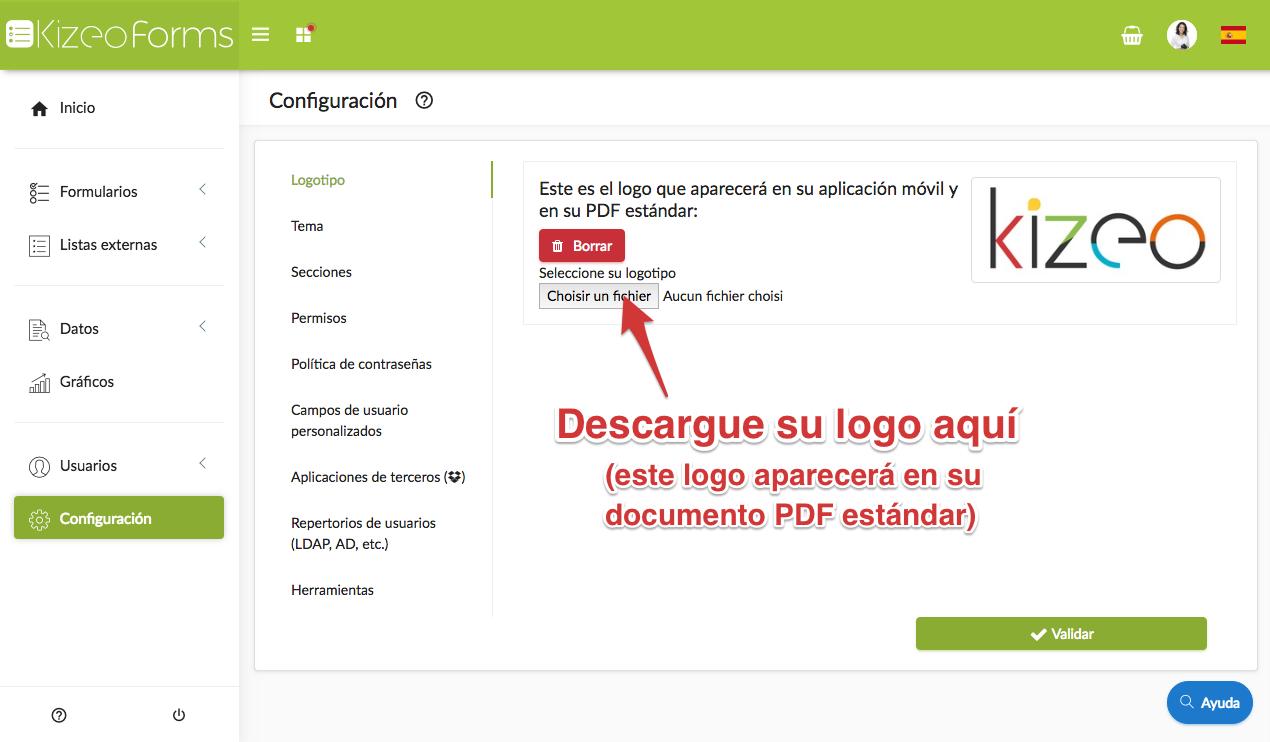 Personalizar su cuenta Kizeo Forms con su logo
