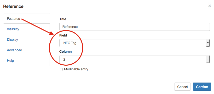 Referece field linked with the NFC tag field.