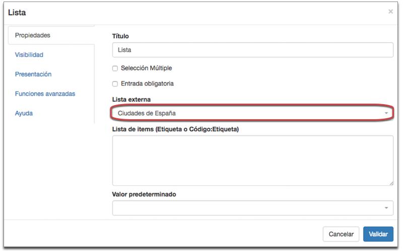 Seleccionar lista externa formulario
