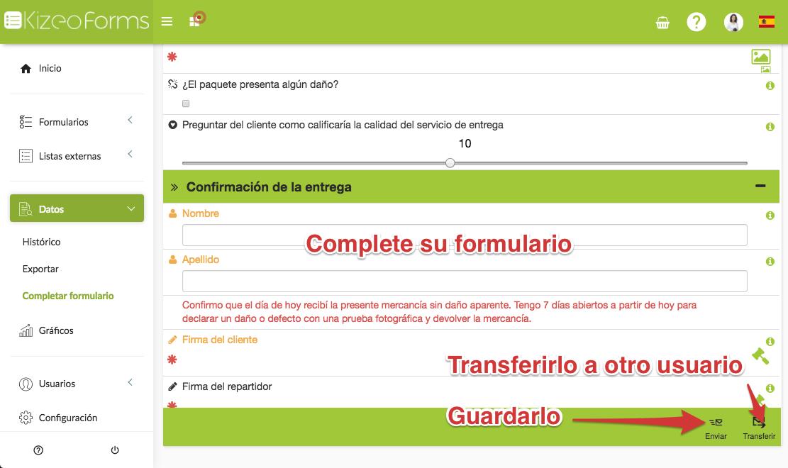 Transferir un formulario pre-completado