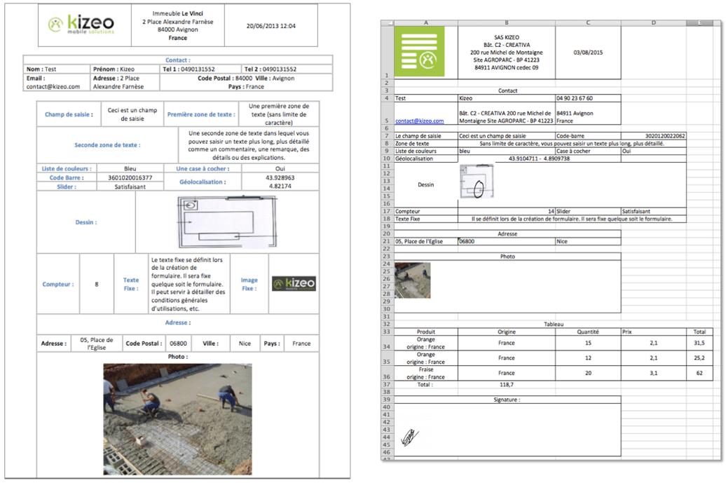 exemple d'export personnalisé sous Kizeo Forms