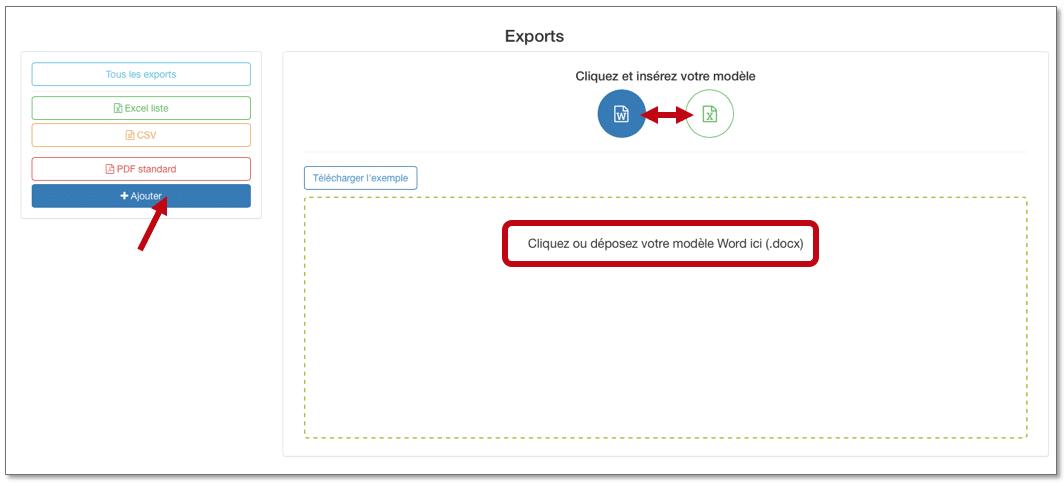 cliquez ou deposez votre modèle Word ou Excel