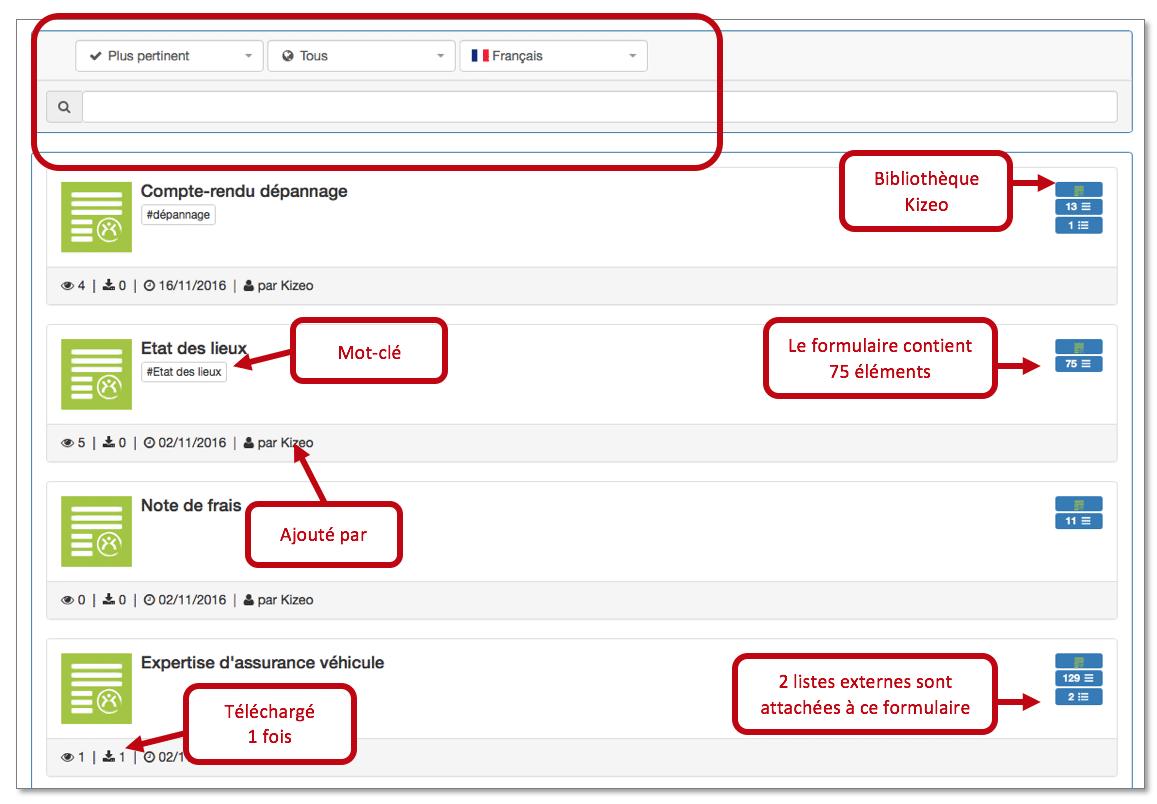 affichage de la bibliothèque de formulaire Kizeo Forms