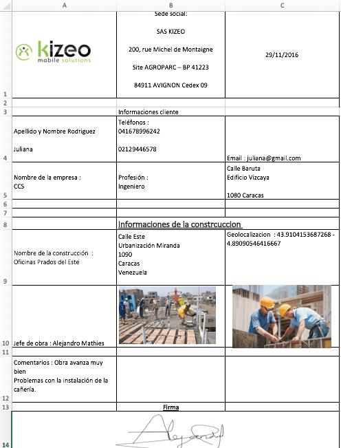 Aquí tiene un ejemplo del documento Excel personalizado.