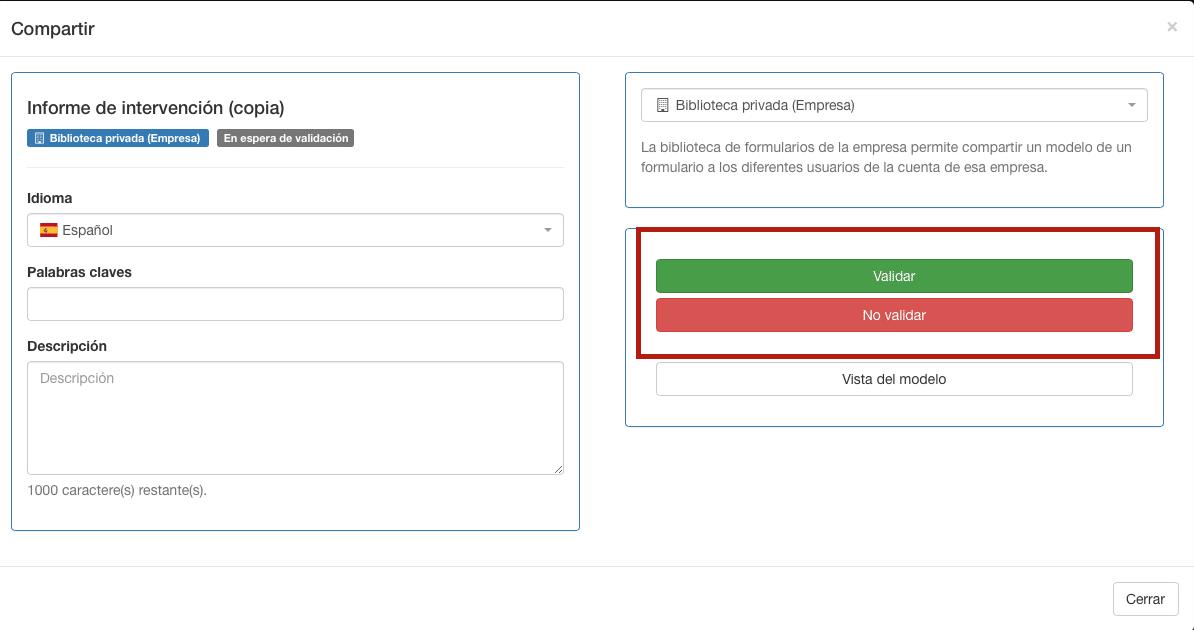 Agregar o no un formulario en la lista de la biblioteca de Kizeo Forms.