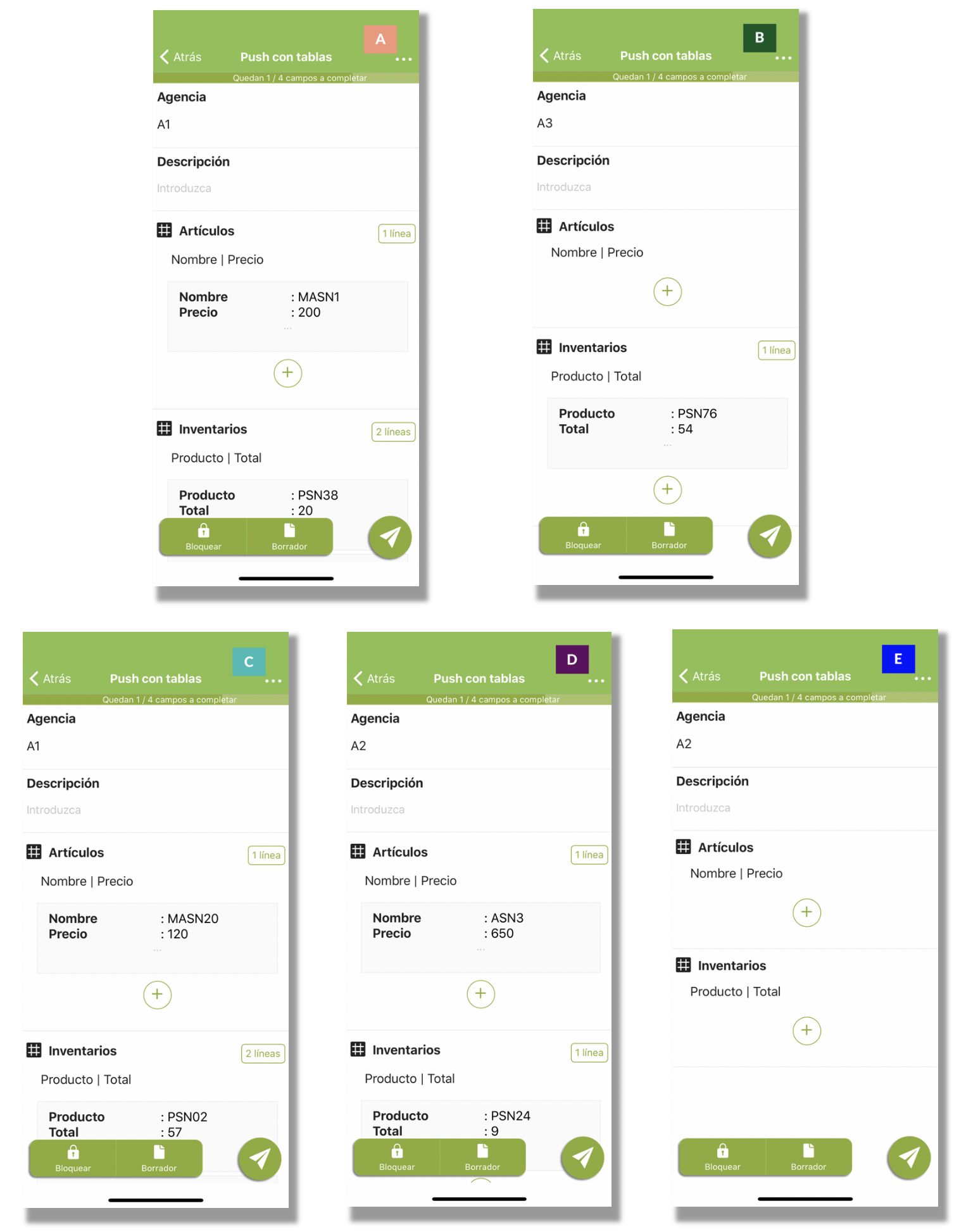 Ejemplo de las diferentes lineas que recibirán los usuarios