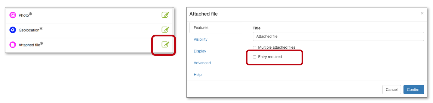 You can make attachment of a file obligatory when inputting your form by ticking the box Entry required