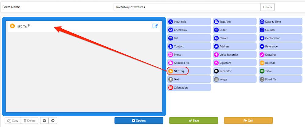 Select the tool NFC Tag