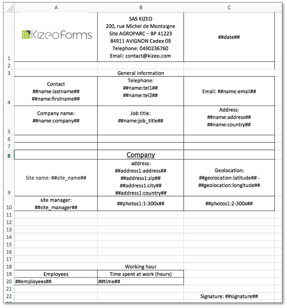 Template Kizeo Forms excel