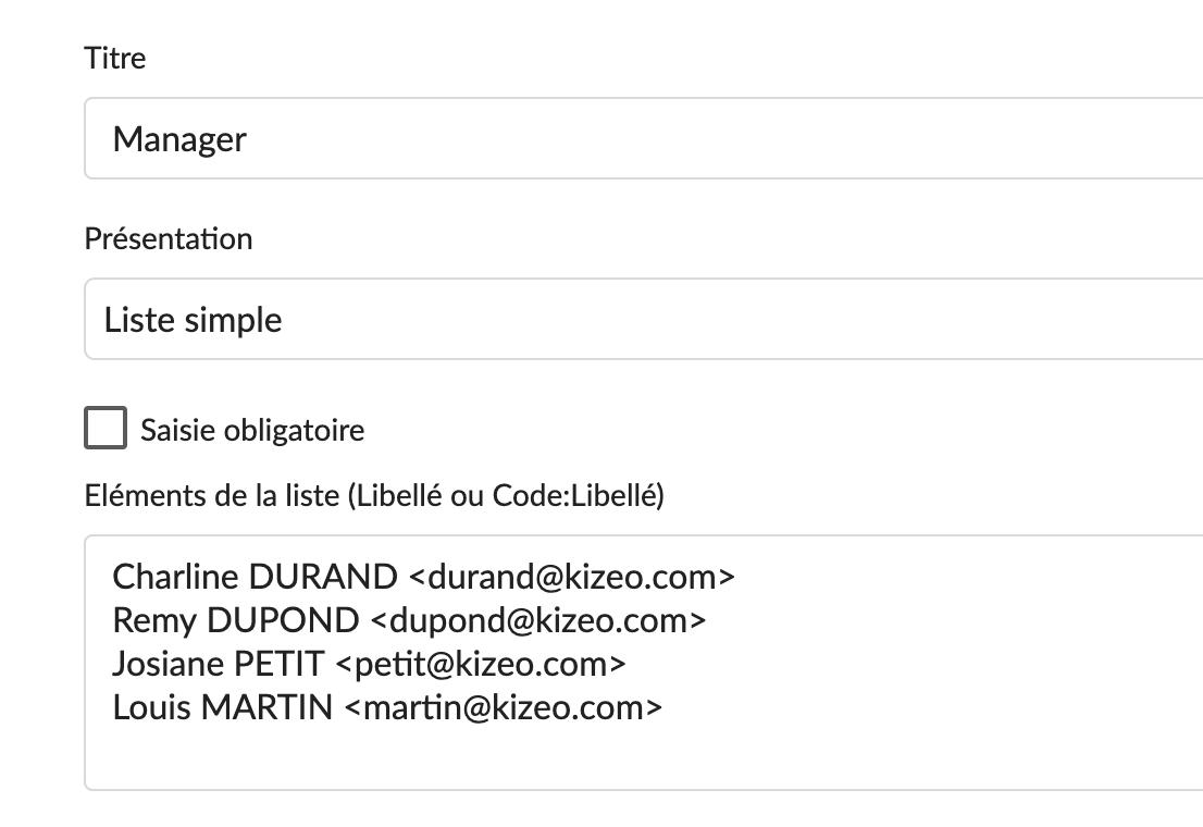 Exemple de rédaction d'une liste avec les destinataires par e-mail
