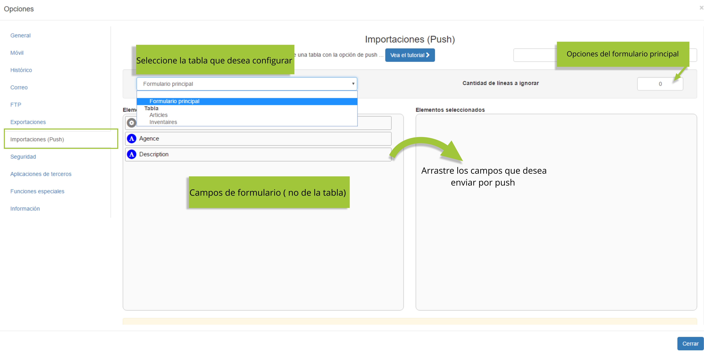 Seleccione la tabla o los campos de su formulario que desea configurar.