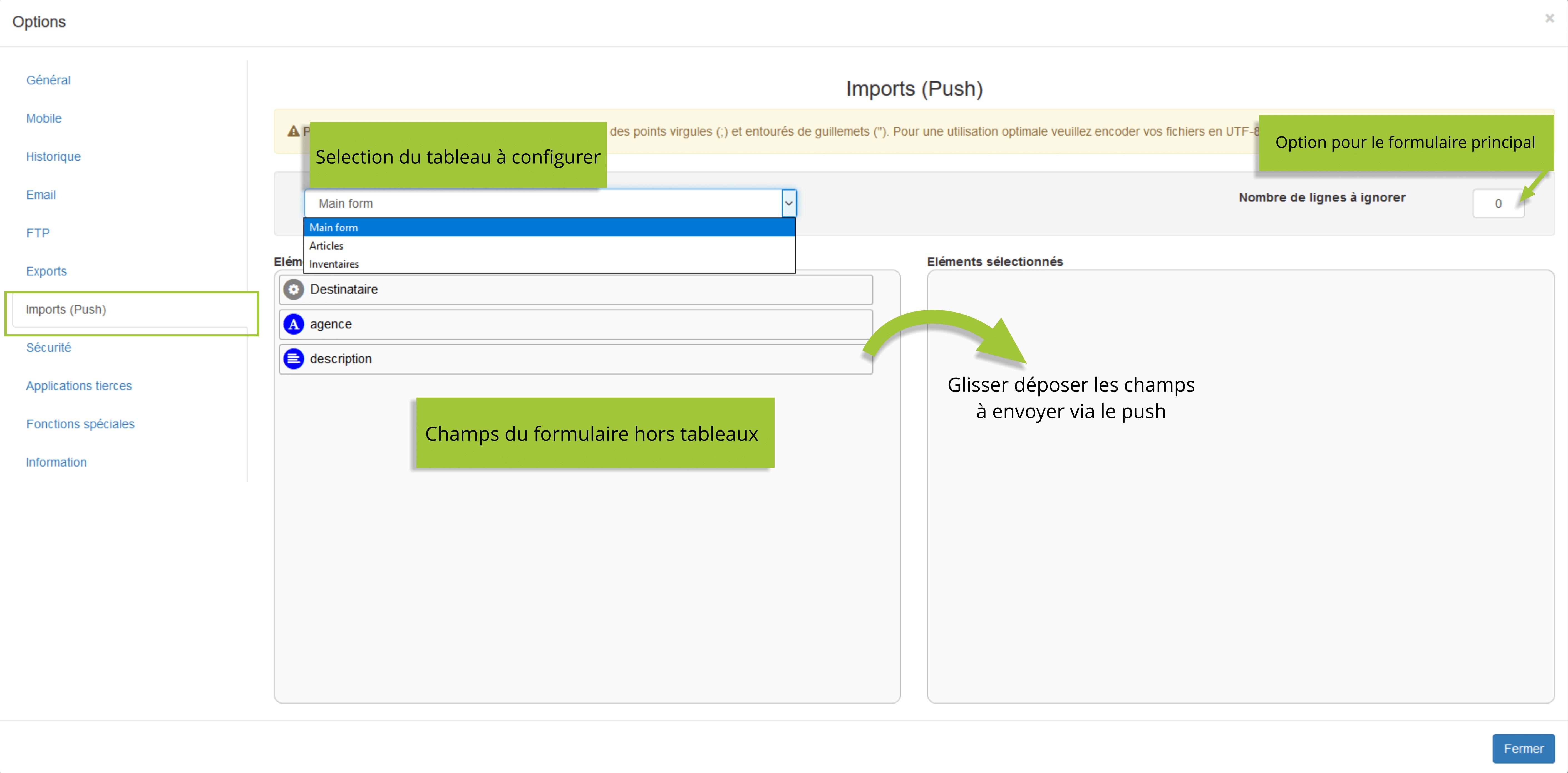 configuration des imports push