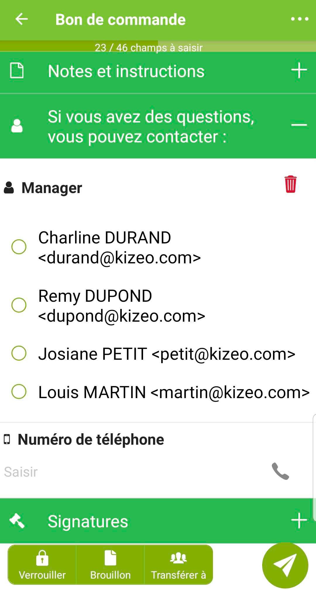 Affichage mobile de la liste