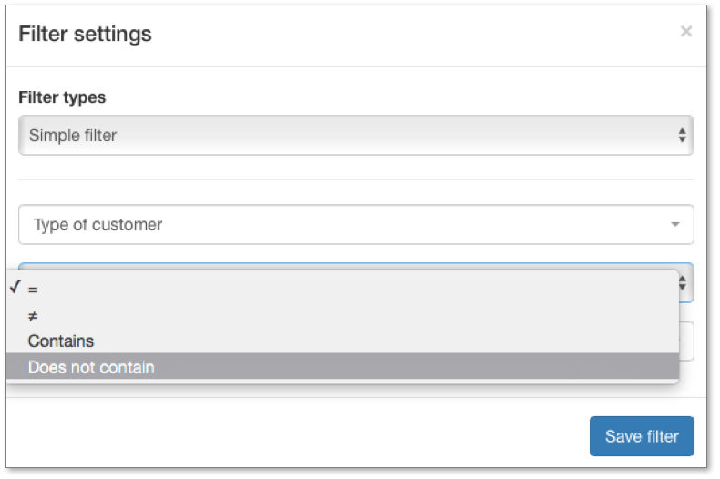 you can select a filter in the System values or in Form's field