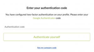 enter authentification code