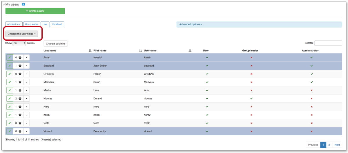 The administrators of the account can entry or modify a customizable user field en masse