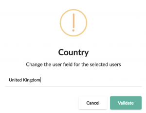 change the user field for the selected users