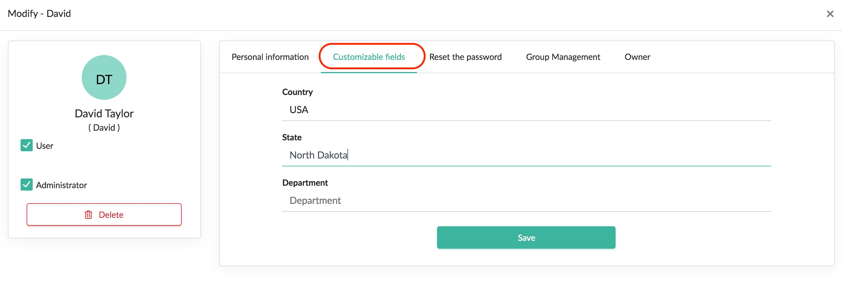 customizable fields user