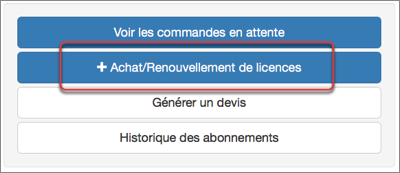 """Cliquez sur """"+ Achat/Renouvellement de licences"""" à droite"""