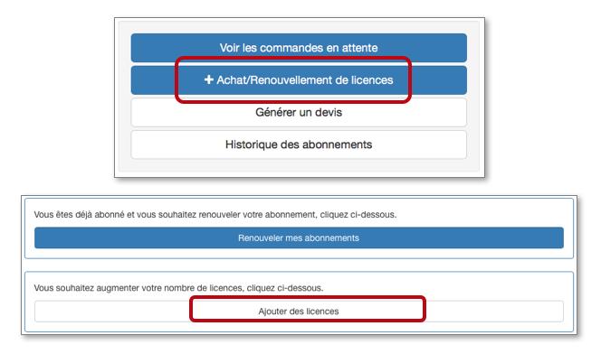 Cliquez ensuite sur Achat Renouvellement de licences à droite puis sur Ajouter des licences