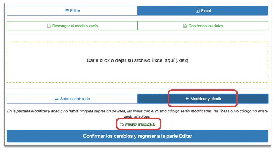 Añadir y modificar Excel