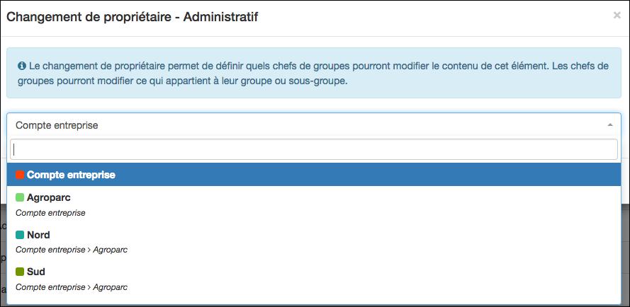 Cliquez sur Propriétaire permet de définir le propriétaire de votre liste externe