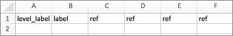 Par exemple, si vous possédez une liste hiérarchique, votre entête commencera par level_label.