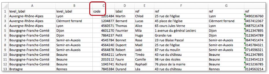 Configurez votre liste avec codes sous Excel.