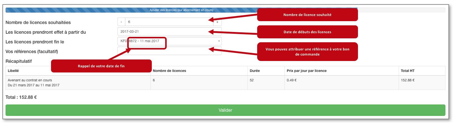 Le nombre de licence que vous taperez correspond au nombre d'utilisateurs que vous souhaitez ajouter