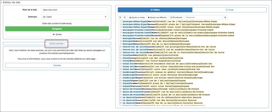 Vous pouvez retrouver ces options dans l'écran de création lors de la modification de votre liste externe.