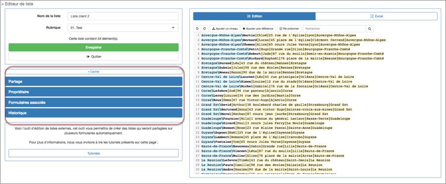 Cette page vous permet de gérer les rubriques de vos listes externes.