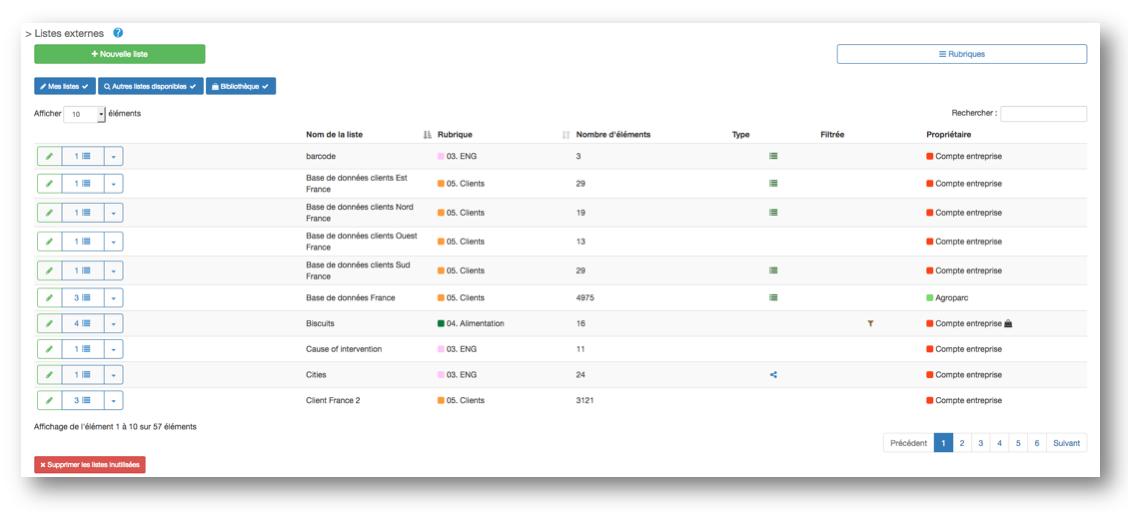 Nouvelle interface pour la page Listes Externes !
