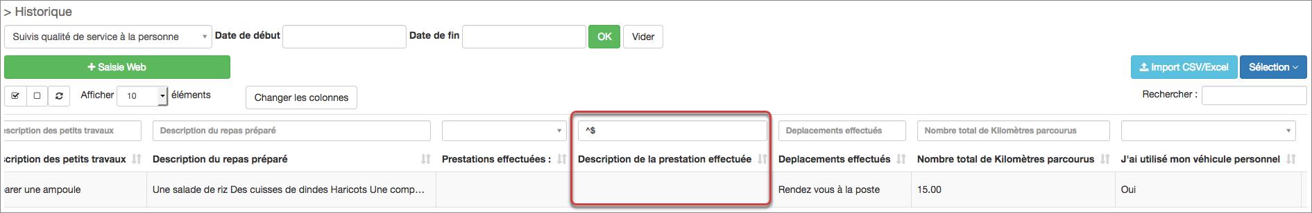 comment filtrer un champ non saisie par un utilisateur