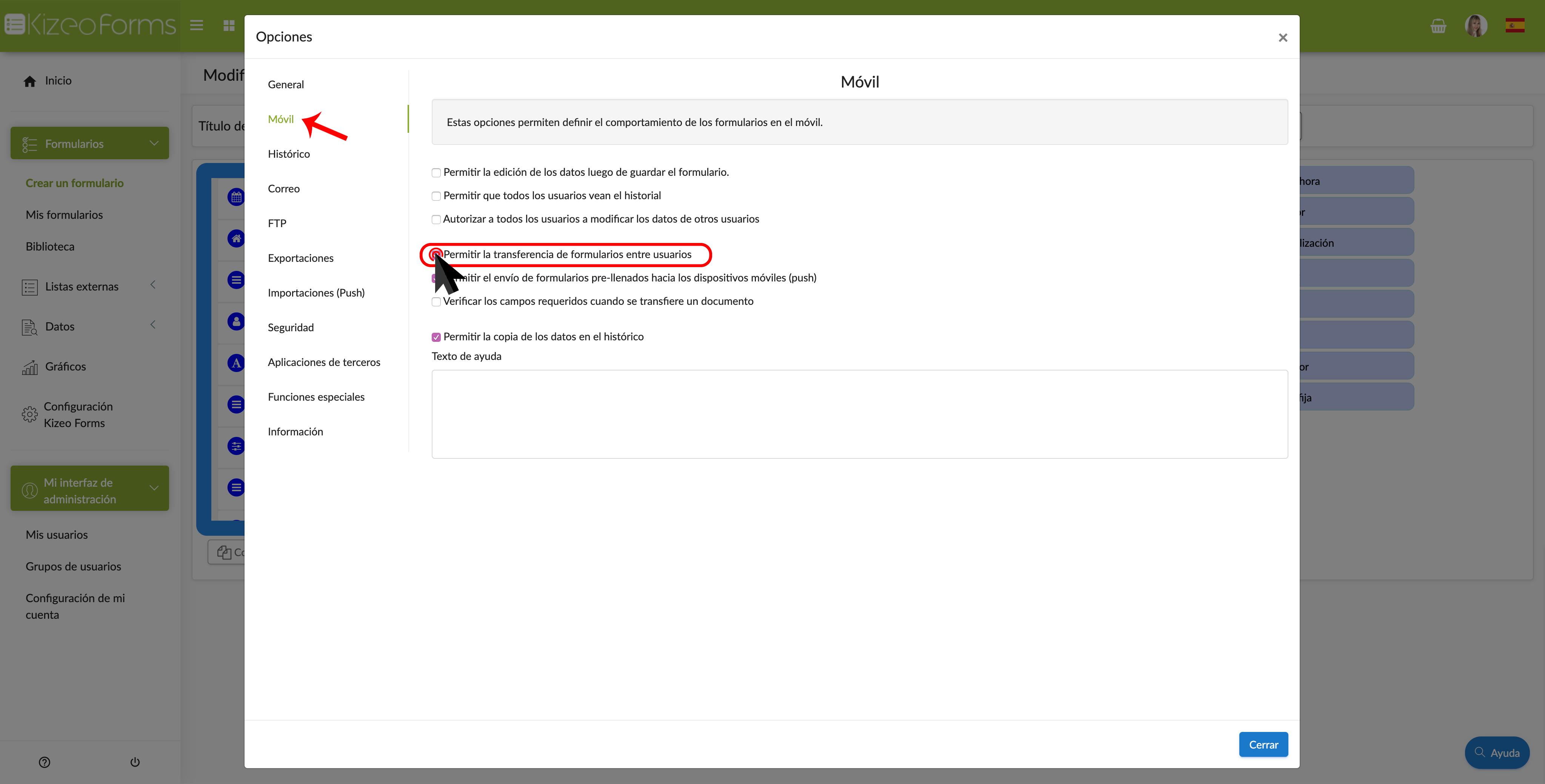"""Marcar la opción """"Permitir la transferencia de formularios entre usuarios""""."""