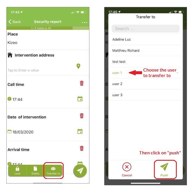 Transfer option displayed on mobile.