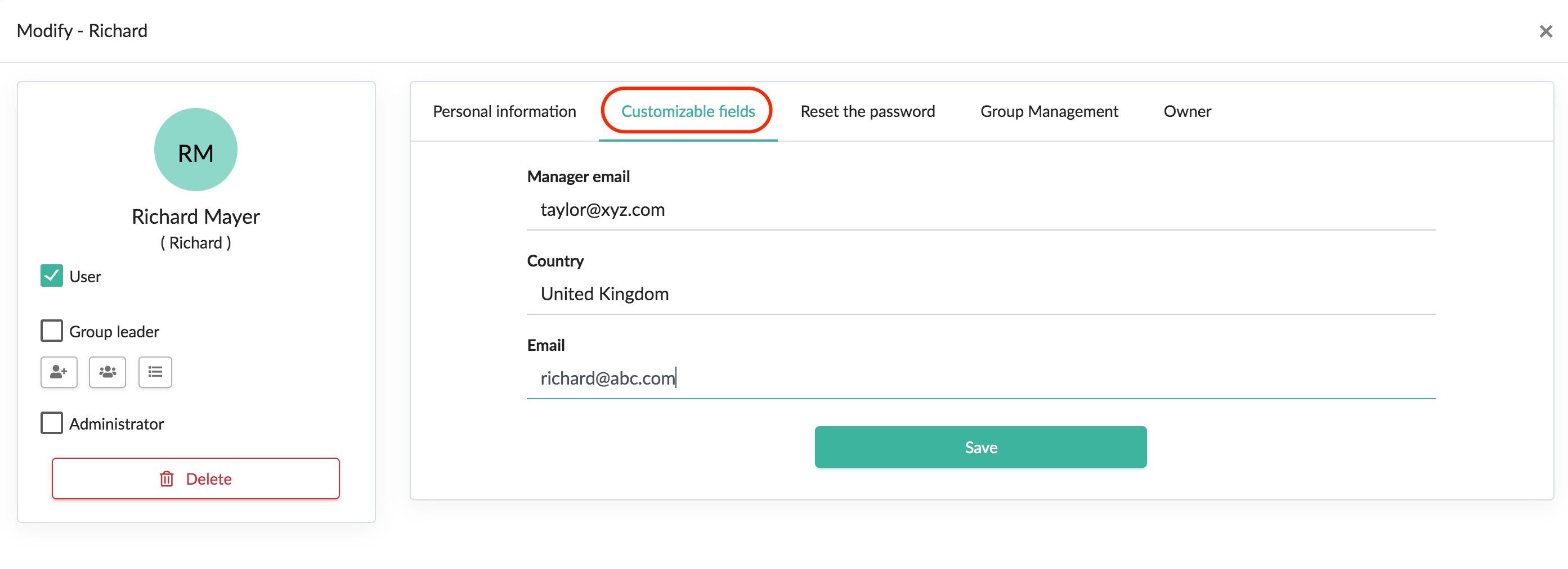 customizable fields tab