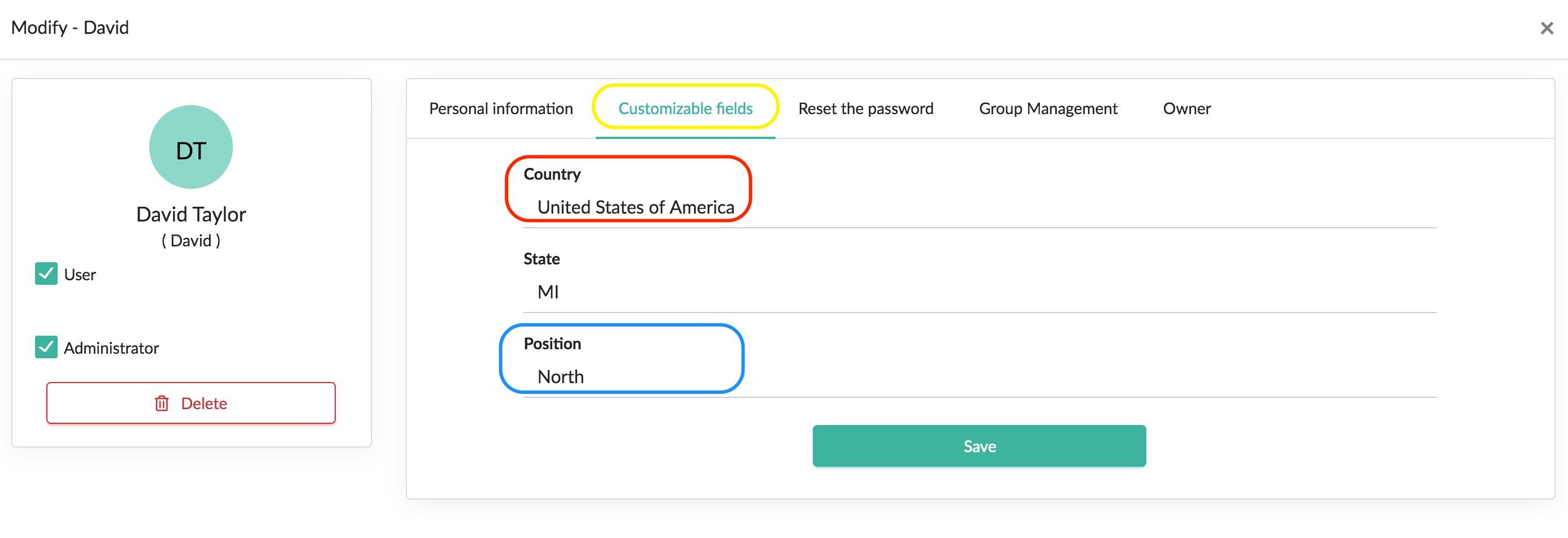 customizable user fields