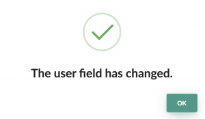 the customizable user field has been modified